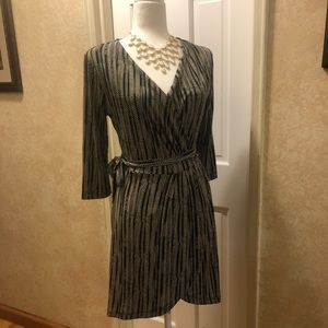 Have Black & Ivory Classic Chain Print Dress NWOT
